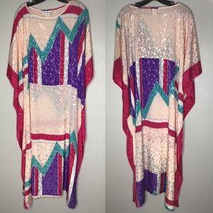 Vtg Ruth Norman NY Lounging Caftan Kimono Gown XL